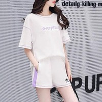 """Adidas"" Women Loose Casual Simple Multicolor Short Sleeve Shorts Set Two-Piece Sportswear"