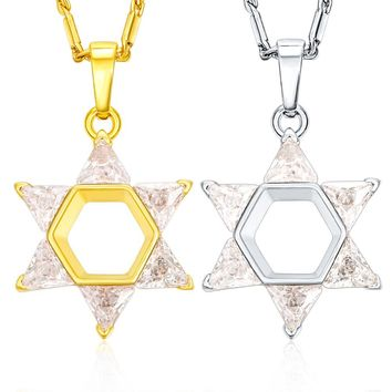 Star Of David Cubic Zirconia Magen David Necklaces