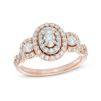 1 CT. T.W. Oval Diamond Halo Engagement Ring in 14K Rose Gold