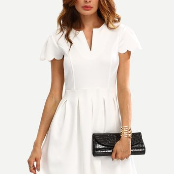 Notch Neck Scallop Trim Fit&Flare White Dress