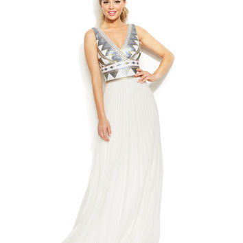 Xscape Sleeveless Tribal Sequin Gown