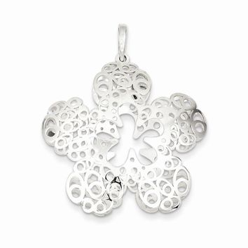 Sterling Silver Polished Filigree Flower Pendant