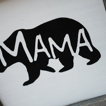 Mama Bear Silhouette Sign Rustic Country Kitchen decor farmhouse decor cottage decor kitchen sign barnwood bear cutout, baby bear sign