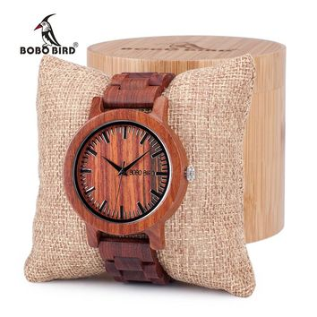 BOBO BIRD Antique Unique Design Mens Dress Red Sandalwood Quartz Watches with All Wooden Band in Gift Box Customized Logo