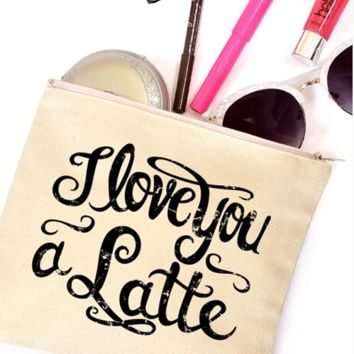 "Natural ""I love you a Latte"" Makeup Bag"