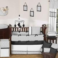 Chevron Zig Zag Black, White and Gray Baby Crib Bedding - 9 Pc Set