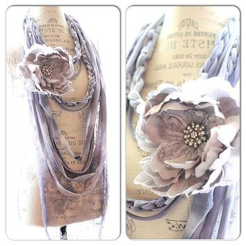 Boho Rag necklace, Shabby rose scarf, cottage chic statement necklace, Mori girl, Boho Beach jewelry, Bohemian necklace, True rebel clothing