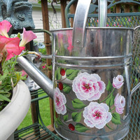 Watering Can Wild Roses Cherries Hand Painted Galvanized