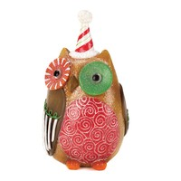 Candy Cane Hat Owl Christmas Decor