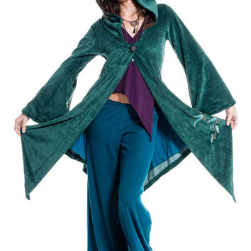 FAERY GODDESS COAT, long velvet boho jacket, hippie pixie clothing, goa psy trance fairy cosplay festival wear, teal turquoise fae jacket