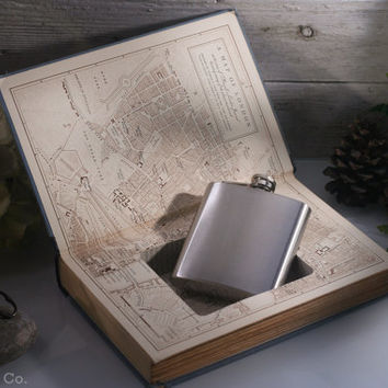 Vintage Hollow Book Safe and Hip Flask - Boswells London Journal 1762-1763