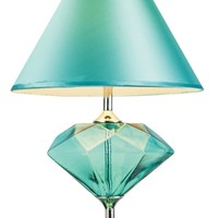 Elegant Designs LT3017-AQU Colored Glass Gem-shaped Diamond Table Lamp, Aqua