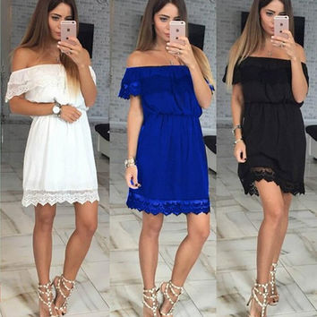 Off the Shoulder Elastic Waist Lace A-Line Mini Dress