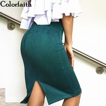 10 colors size S M L XL 2017 Women Winter Solid Suede Multi Package Hip Pencil Midi Skirt Autumn Winter Bodycon Femininas SP012