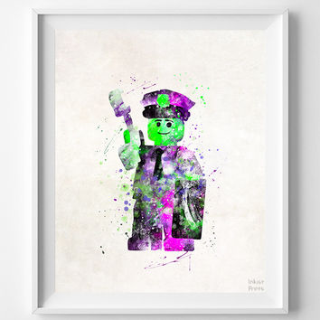 Lego Print, Lego Watercolor Art, Room Decor, Wall Decor, Playroom Art, Office Wall Decor, Bedroom Art, Custom Gifts, Halloween Decor