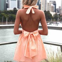 Light Orange Halter Dress with Open Back&Tie Bow Detail