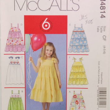 McCall's M4814 (c. 2005) Girls Size 4, 5, 6, Toddler and Children's Dressers, 6 Styles, Summer Dress, Sewing Dress Pattern, Gift Idea