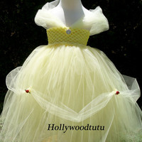 Baby girl Princess Belle inspired tutu dress costume perfect for birthday parties,dress up or Halloween fits sizes NB-4T