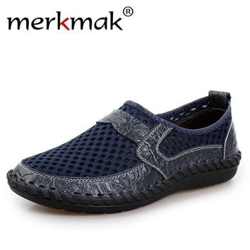 Big Size 46 Summer Breathable Mesh Loafers Men Casual Shoes Genuine Leather Slip On Brand Fashion Flat Shoes Soft Comfort Cool
