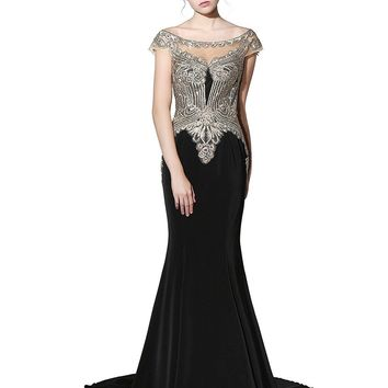 Womens Mermaid Sheer Back Evening Dress Formal Long Prom Gown with Cap Sleeve
