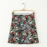 Summer Women's Fashion Pastoral Style Floral Print Dress Skirt [4919971460]