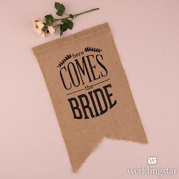 Here Comes the Bride Burlap Wedding Sign Country Wedding in Black
