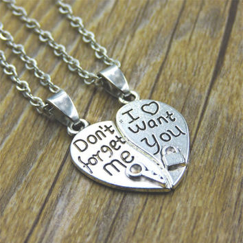 Broken Heart Couple Pendant Necklace For Lovers' Silver Key Lock I Want you Fashion Jewelry Valentine's Day Gifts 2pc/Set N1523