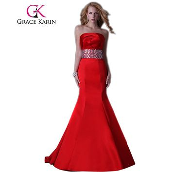 Grace Karin Prom Dress Strapless Satin Mermaid Trumpet Red Evening Dresses Full Length Beading Long Dinner Party Prom Gown 2017