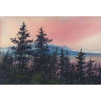 Mountain Forest Sunrise Watercolor Painting