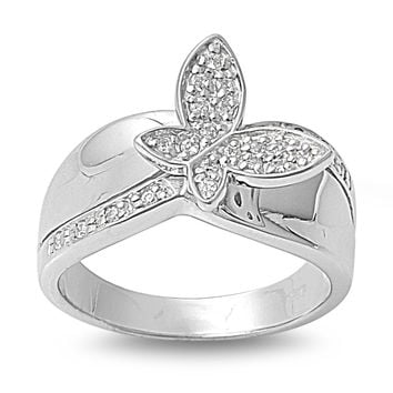 925 Sterling Silver CZ Butterfly Ring 13MM
