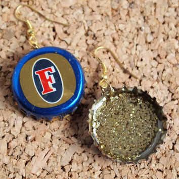 Foster's Beer Earrings - recycled bottle cap resin gold glitter cool unique upcycle jewlery FREE Shipping to USA