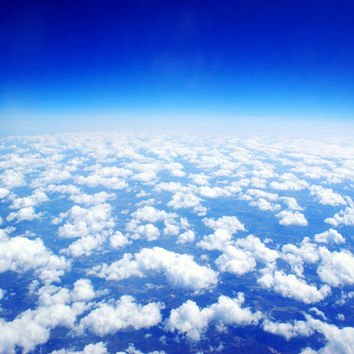 Looking Above the Clouds 16x24 Photography Print, Blue Sky Photo, Cloud Photograph, Nature Wall Art