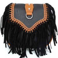 Black Leather Tassels Bag