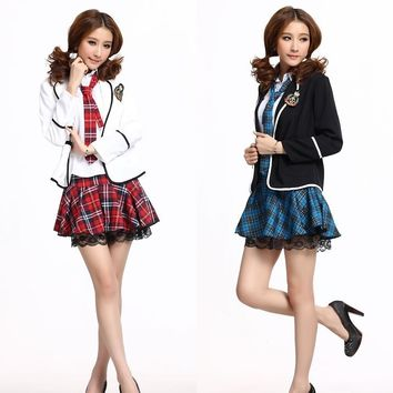 Sailor clothes Blazer students clothing uniforms コスプレハロウィン length sleeves AKB48 Akiba costume fancy dress CA cosplay フルセットバス guide uniforms hang stewardess sexy miniskirt ladies fashion Christmas
