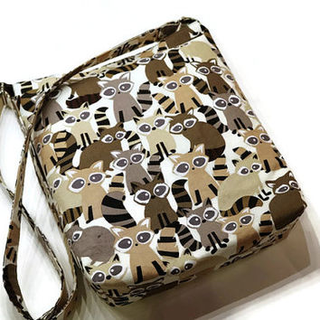 Adorable raccoons fabric crossbody hobo bag, large shoulder sling purse. Gift for her. Unique purse gift idea.