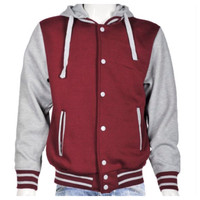 Mens Hoodie Varsity Jacket~Burgundy/Grey