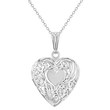 Small Floral Print Memory Photo Pendant Heart Locket Girls Necklace 19""