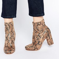 River Island Snake Effect 60'S Block Heeled Ankle Boot