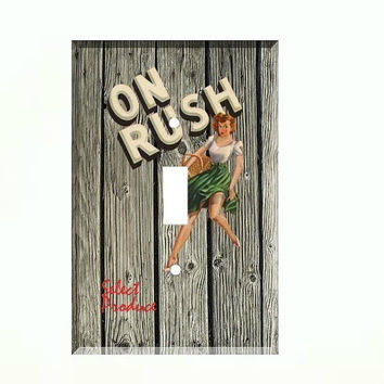 Light Switch Cover - Light Switch Plate Vintage Crate Label On Rush Pin Up Girl
