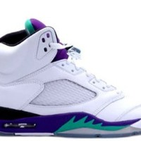 Mens Nike Air Jordan 5 Retro Basketball Shoes GRAPES White / New Emerald Grape / Ice / Black 136027-108 Size 8