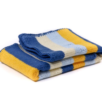Personalized newborn blanket in blue, yellow and diary color hand knitted