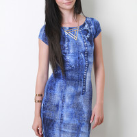 Denim Print Dress Color: Blue, Size: M