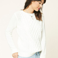 Cable-Knit Crew Neck Sweater