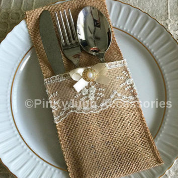 10 burlap and ivory color lace rustic silverware holder, wedding, bridal shower, tea party table decoration