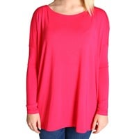 Fuchsia Piko Long Sleeve Top