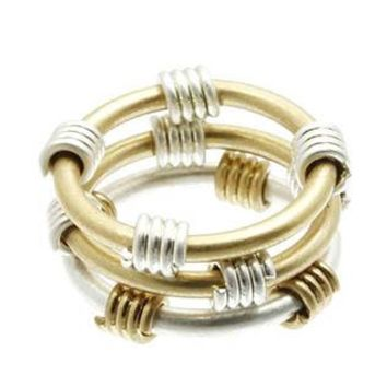Two Tone Metal Knuckle One Size Ring