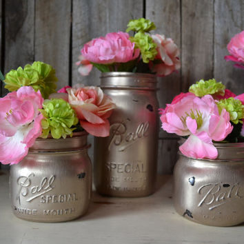 Set of 4 Hand Painted Distressed Antique Gold Mason Jars