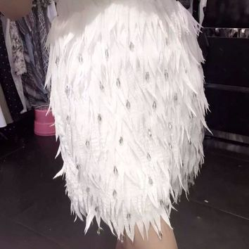 New Chiffon Feather Shape High-end Diamond Bead Women's Party Wedding Straight Mini Skirt S-L