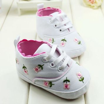 Embroidered Lace Baby Shoes Kids Boys Girls Toddler Shoes Soft Bottom Baby Shoes