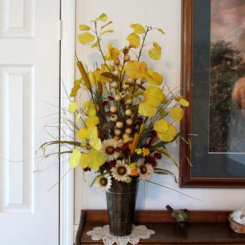 Tall Fall Floral Arrangement / Yellow Gold Cream Floral  / Fall Color Floral Arrangement / Rustic Copper Container Floral